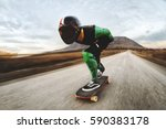 a young man in helmet and a... | Shutterstock . vector #590383178