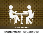 people at the table  interior... | Shutterstock .eps vector #590386940