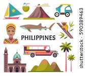 philippines icons set. vector...   Shutterstock .eps vector #590389463