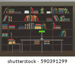 library interior with... | Shutterstock .eps vector #590391299