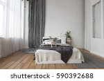 interior of white and gray cozy ... | Shutterstock . vector #590392688