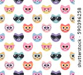 seamless pattern with cute cats ... | Shutterstock .eps vector #590396258