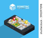 gps navigation online. isometric | Shutterstock .eps vector #590397098