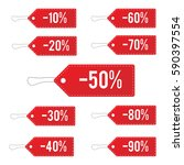 red leather sale price tags set.... | Shutterstock .eps vector #590397554