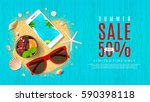 beautiful web banner for summer ... | Shutterstock .eps vector #590398118