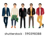 handsome guy in casual and... | Shutterstock .eps vector #590398388