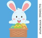 easter theme with bunny and egg | Shutterstock .eps vector #590401793