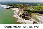 aerial view of tanah lot temple ... | Shutterstock . vector #590403590