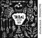 tribal vector set. hand drawn... | Shutterstock .eps vector #590404790