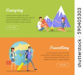camping and travelling posters. ...   Shutterstock .eps vector #590405303