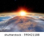 planet earth with a spectacular ... | Shutterstock . vector #590421188