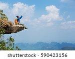 Successful Woman Hiker Taking...