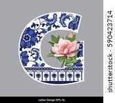 vector of peony flower on ... | Shutterstock .eps vector #590423714