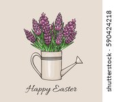 easter greeting card with a... | Shutterstock .eps vector #590424218