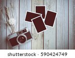 retro camera with empty old... | Shutterstock . vector #590424749