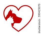 cat and dog. red heart | Shutterstock .eps vector #590425070
