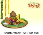 happy ugadi. template greeting... | Shutterstock .eps vector #590435558