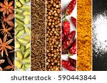 spice frame with diverse spices | Shutterstock . vector #590443844