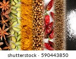 spice frame with diverse spices | Shutterstock . vector #590443850