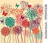 summer colorful vector... | Shutterstock .eps vector #590445338