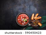seafood soup and bruschetta on ... | Shutterstock . vector #590450423