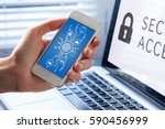 mobile phone cyber security... | Shutterstock . vector #590456999