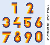 numbers set hipster  parallel... | Shutterstock .eps vector #590459078