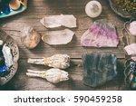 natural gemstones  white sage... | Shutterstock . vector #590459258