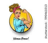 women power. pop art sexy... | Shutterstock .eps vector #590461013