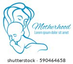 mom and baby portrait  mothers... | Shutterstock .eps vector #590464658
