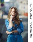street style. beautiful woman... | Shutterstock . vector #590472074