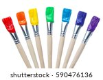 colorful paint brushes with the ...
