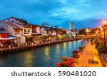 the old town of malacca and the ... | Shutterstock . vector #590481020