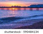 Brighton Beach At Sunset ...