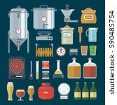 home brewing factory production ... | Shutterstock .eps vector #590485754
