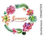 wildflower succulentus flower... | Shutterstock . vector #590487959
