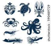 Stock vector seafood marine animal icon set octopus crab shrimp squid lobster prawn and sea turtle blue 590489729