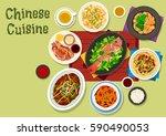 chinese cuisine festive dinner...   Shutterstock .eps vector #590490053