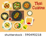 thai cuisine icon of chicken... | Shutterstock .eps vector #590490218