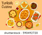 turkish cuisine meat dishes... | Shutterstock .eps vector #590492720