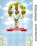 crucifix or easter cross with... | Shutterstock .eps vector #590492828