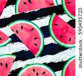 fruity seamless vector pattern... | Shutterstock .eps vector #590495720