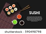 set of sushi on the plate with... | Shutterstock .eps vector #590498798