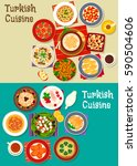 turkish cuisine icon with meat...   Shutterstock .eps vector #590504606