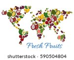 exotic fruits world map. vector ... | Shutterstock .eps vector #590504804