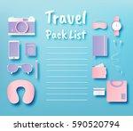 travel items packing list paper ... | Shutterstock .eps vector #590520794