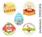 easter holiday and egg hunt... | Shutterstock .eps vector #590521826