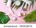 natural cosmetics and leaves on ... | Shutterstock . vector #590528576