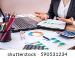business woman working with... | Shutterstock . vector #590531234