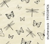 seamless pattern with dragonfly'... | Shutterstock .eps vector #590538926